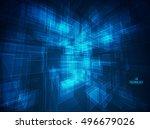 3d blue abstract mesh...   Shutterstock .eps vector #496679026