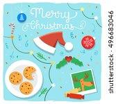 preparing for christmas table...   Shutterstock .eps vector #496683046