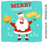 happy santa greeting card... | Shutterstock .eps vector #496683136