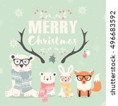 merry christmas lettering with... | Shutterstock .eps vector #496683592