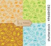 tea seamless pattern. cartoon... | Shutterstock .eps vector #496684582