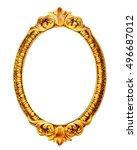 gold wooden mirror frame... | Shutterstock . vector #496687012
