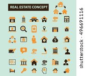 real estate concept icons | Shutterstock .eps vector #496691116