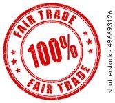 100 fair trade guarantee rubber ... | Shutterstock .eps vector #496693126