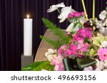 a coffin with flower... | Shutterstock . vector #496693156