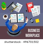top view business workplace ... | Shutterstock .eps vector #496701502