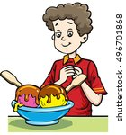 happy little boy eating a big... | Shutterstock .eps vector #496701868