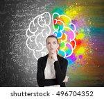 girl in black cardigan standing ... | Shutterstock . vector #496704352