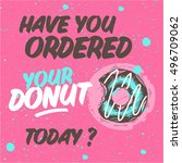 donut with chocolate. pink... | Shutterstock .eps vector #496709062
