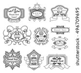 labels set   isolated on black... | Shutterstock .eps vector #496709695