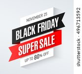 black friday super sale banner  ... | Shutterstock .eps vector #496713592