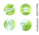 set of green labels for fresh... | Shutterstock . vector #496717096