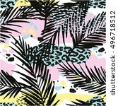 trendy seamless exotic pattern... | Shutterstock .eps vector #496718512