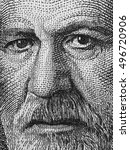 Small photo of Sigmund Freud portrait on Austria 50 schilling banknote close up macro, black and white. Austrian neurologist and the founder of psychoanalysis.