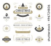 christmas labels and badges... | Shutterstock .eps vector #496724836