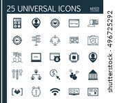set of 25 universal icons on... | Shutterstock .eps vector #496725292