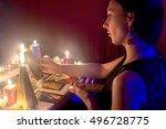 fortune teller on the tarot... | Shutterstock . vector #496728775
