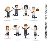 happy business people jumping.... | Shutterstock .eps vector #496729852