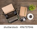 vintage typewriter on the old... | Shutterstock . vector #496737046