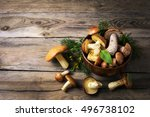 Forest Picking Mushrooms In Th...