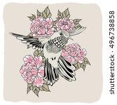 hand drawn flying humming bird... | Shutterstock .eps vector #496738858