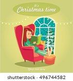 cozy christmas illustration... | Shutterstock .eps vector #496744582