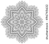 vector henna tatoo mandala.... | Shutterstock .eps vector #496745632