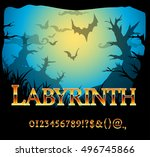 fantasy gold style font numbers ... | Shutterstock .eps vector #496745866
