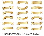 ribbon gold vector icon on... | Shutterstock .eps vector #496751662