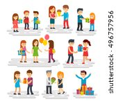 people give gifts  men and... | Shutterstock .eps vector #496757956