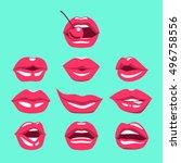 female sexy lips set on sweet...   Shutterstock .eps vector #496758556