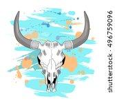 Psychedelic Bull Skull Drawing...