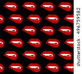 texture of red lips with fangs... | Shutterstock .eps vector #496759582