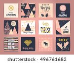 Set Of Artistic Creative Merry...