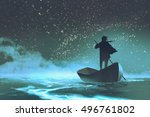 man rowing a boat in the sea... | Shutterstock . vector #496761802