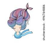 beautiful young girl sailor.... | Shutterstock .eps vector #496764886