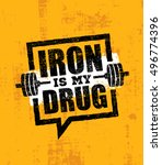 iron is my drug. raw workout... | Shutterstock .eps vector #496774396