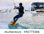 wakeboarder with strong body... | Shutterstock . vector #496775386