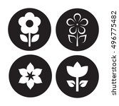 black  flower icons set on a... | Shutterstock .eps vector #496775482