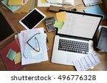 workplace workspace wooden...   Shutterstock . vector #496776328