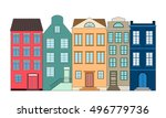 row of color houses  vector... | Shutterstock .eps vector #496779736