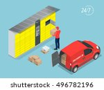 isometric parcel delivery... | Shutterstock .eps vector #496782196