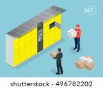 isometric parcel delivery... | Shutterstock .eps vector #496782202