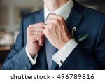 fashion detail image of a groom ...   Shutterstock . vector #496789816
