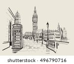 vector hand drawn landscape of... | Shutterstock .eps vector #496790716