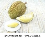 durian peeled fruit plate... | Shutterstock . vector #496792066