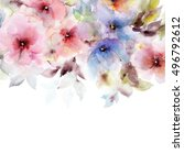 floral background. watercolor...   Shutterstock . vector #496792612