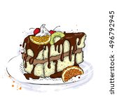 a piece of beautiful cake with... | Shutterstock .eps vector #496792945