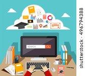 student browsing internet using ... | Shutterstock .eps vector #496794388