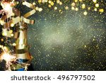 bottle of champagne.celebration ... | Shutterstock . vector #496797502
